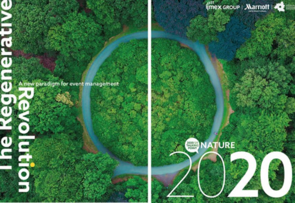 The front cover of Regenerative Revolution, A New Paradigm for Event Management, a ring of treamsurrounded by a river