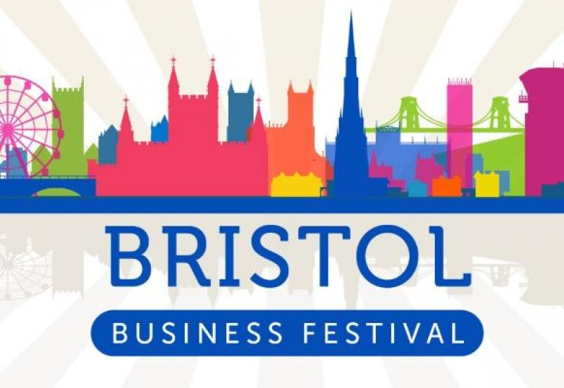 A cartoon rendering of the Bristol skyline with text reading 'Bristol Business Festival' underneath